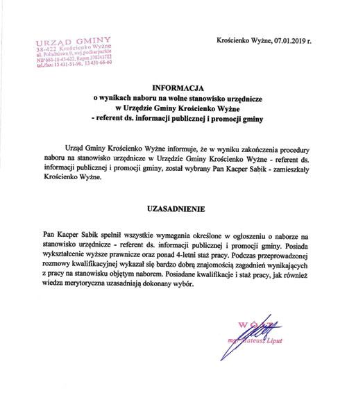 8bd43814ab4195 Biuletyn Informacji Publicznej Gmina Krościenko Wyżne